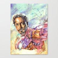 tony stark Canvas Prints featuring Tony Stark by Trenita
