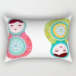 dolls matryoshka, pink and blue colors Rectangular Pillow