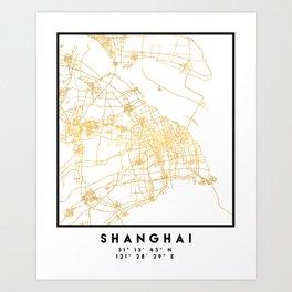 SHANGHAI CHINA CITY STREET MAP ART Art Print