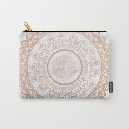 Mandala - rose gold and white marble Carry-All Pouch