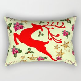 DECORATIVE LEAPING RED DEER  & HOLY BERRIES CHRISTMAS  ART Rectangular Pillow