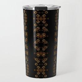 Dark Arabic Stripes Pattern Travel Mug
