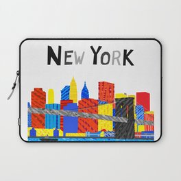Playful Manhattan Skyline Illustration Laptop Sleeve