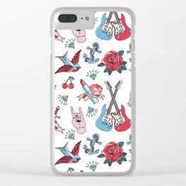 Old School Tattoo Love Rock Clear iPhone Case