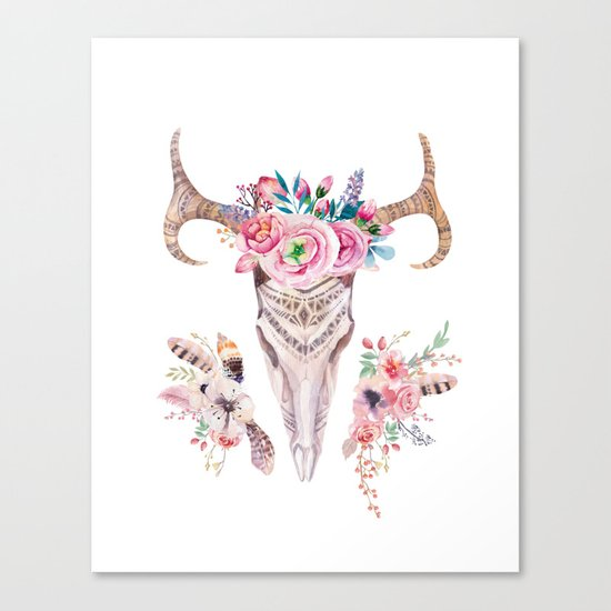 Deer skull with feathers and flowers Canvas Print