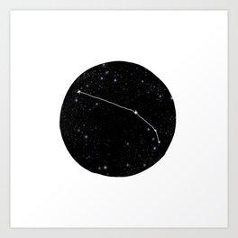 Minimalist aries constellation star chart zodiac black and white art Art Print