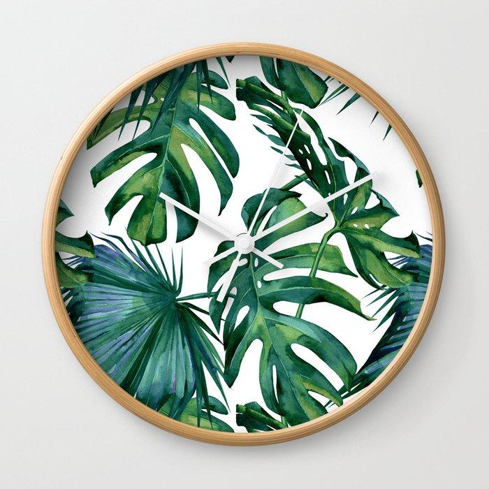 Classic Palm Leaves Tropical Jungle Green Wall Clock