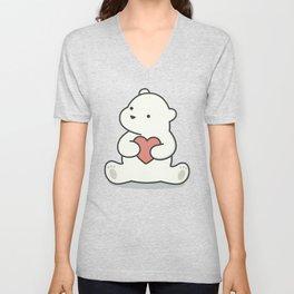 Kawaii Cute Polar Bear With Heart Unisex V-Neck