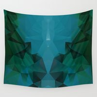 polygon Wall Tapestries featuring PEACOCK POLYGON by ED design for fun