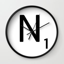 Letter N - Custom Scrabble Letter Tile Art - Scrabble N Initial Wall Clock