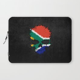 Flag of South Africa on a Chaotic Splatter Skull Laptop Sleeve