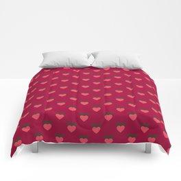 Strawberry Pink Love Hearts & Love Birds Comforters