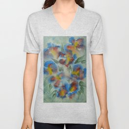 Abstract Flowers Blue Watercolor Unisex V-Neck