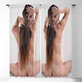 0850-JAL Beautiful Long Hair Nude Sitting in Full Lotus Rear View Blackout Curtain