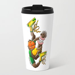 Amazing basketball player performing an acrobatic jump Travel Mug