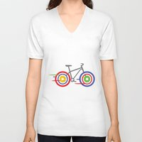 bike V-neck T-shirts featuring Bike! by Alice Wieckowska