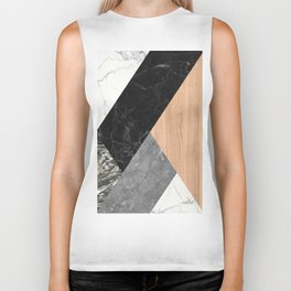 Marble and Wood Abstract Biker Tank