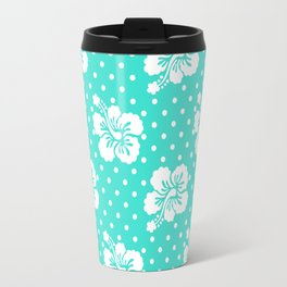 Turquoise and White Floral Pattern Polka Dots Travel Mug