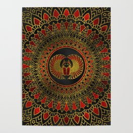 Egyptian Scarab Beetle - Gold and red  metallic Poster