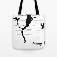 friday Tote Bags featuring Friday by Christopher Knowles