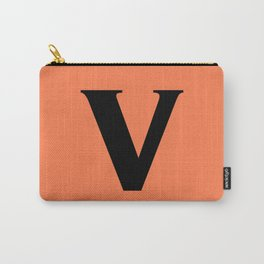 v (BLACK & CORAL LETTERS) Carry-All Pouch