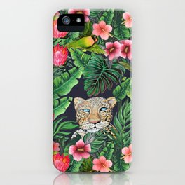 Leopard and tiger jungle floral iPhone Case