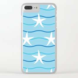 Nautical Seamless Collection 38 - starfish Clear iPhone Case