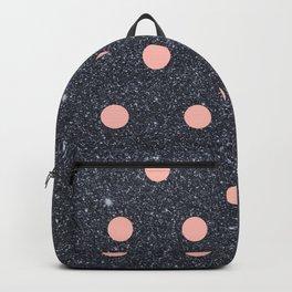 Black Glitter and Pink Polka Dots Backpack