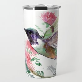 Flying Hummingbird and Red Flowers Travel Mug