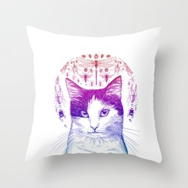Of cats and insects Throw Pillow