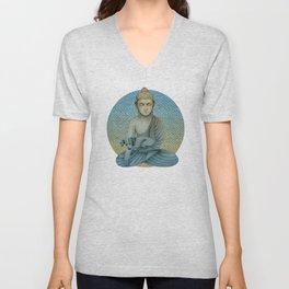 Buddha with dog4 Unisex V-Neck