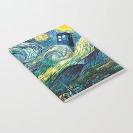 Tardis Art Starry Painting Night Notebook