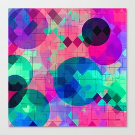 geometric square pixel and circle pattern abstract in pink blue green Canvas Print