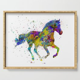 horse with multicolored fantasy Serving Tray