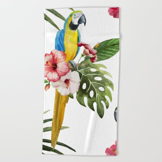 Tropical Bird Pattern 02 Beach Towel