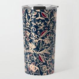 Navy Garden - floral doodle pattern in cream, dark red & blue Travel Mug
