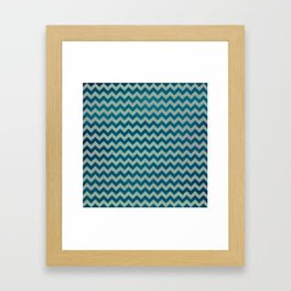 Blue and Green Chevron Pattern Framed Art Print