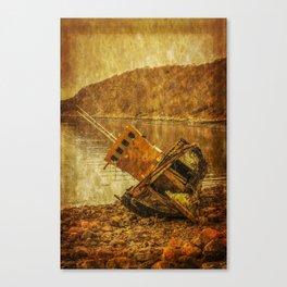 Wreck on Scottish Highland Beach at Diabaig Canvas Print
