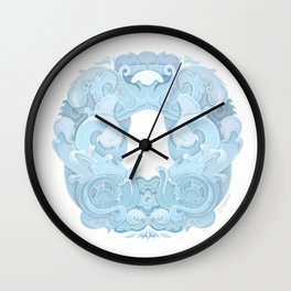 Blue Rosemaling letter O Wall Clock