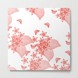 massed flowers and butterflies in red Metal Print