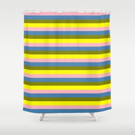 Light Pink, Blue, Green, and Yellow Colored Lined/Striped Pattern Shower Curtain