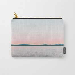 Pink, Blue, Landscape, Water, Nature, Modern art, Scandinavian, Art, Minimal, Wall art Carry-All Pouch