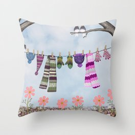 winter's over clothesline with juncos Throw Pillow