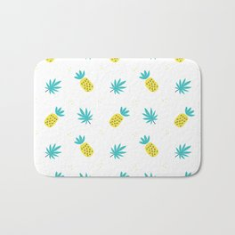 Summer sunshine yellow teal pineapple tropical leaves pattern Bath Mat