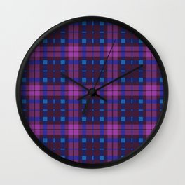 Blue and purple Tartan (Scotch) Pattern Wall Clock