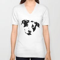 pit bull V-neck T-shirts featuring Pit Bull by MIX INX
