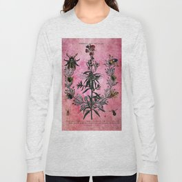 Vintage Bees with Toadflax Botanical illustration collage Long Sleeve T-shirt
