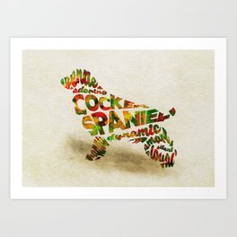 The Cocker Spaniel Dog Typography Art / Watercolor Painting Art Print