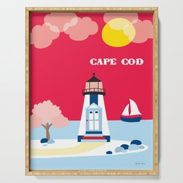 Cape Cod, Massachusetts - Skyline Illustration by Loose Petals Serving Tray