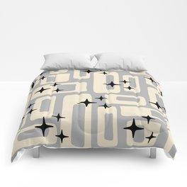 Retro Mid Century Modern Abstract Pattern 576 Gray Black Comforters
